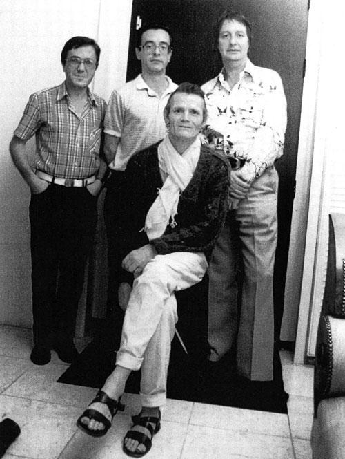Pianist Michel Graillier, contrabassist Riccardo Del Fra, trompettist Chet Baker en John Engels in Studio Monster in Monster, oktober 1985. Collectie John Engels.