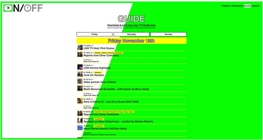 Le Guess Who-ON gooide het over een andere boeg: geen concerten, geen publiek, wel een programma met uiteenlopende inhoud. Screenprint van website