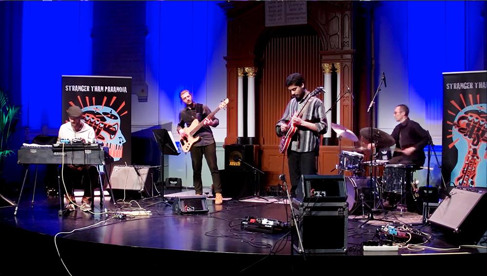 Het Prashant Samlal Quartet met Roel Hazendonk, Stef Joosten, Prashant Samlal en Mees Siderius.